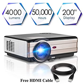 Proyector Full HD, Proyectores LED 4000 Lúmenes 1080P Proyector ...