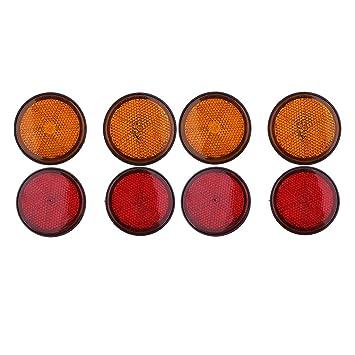 Baoblaze 2 Paar Universelle runde Reflektoren Led Rund Reflektor R/ücklicht Bremsleuchte F/ür Motorrad Rot und Orange
