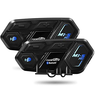 Motorcycle Bluetooth Intercom, Fodsports M1-S Pro 2000m 8 Riders Group Motorcycle Helmet Bluetooth Headset Communication Systems Kit (Handsfree/Siri Google Assistant/Waterproof/GPS/4 Mic/2Pack): Automotive