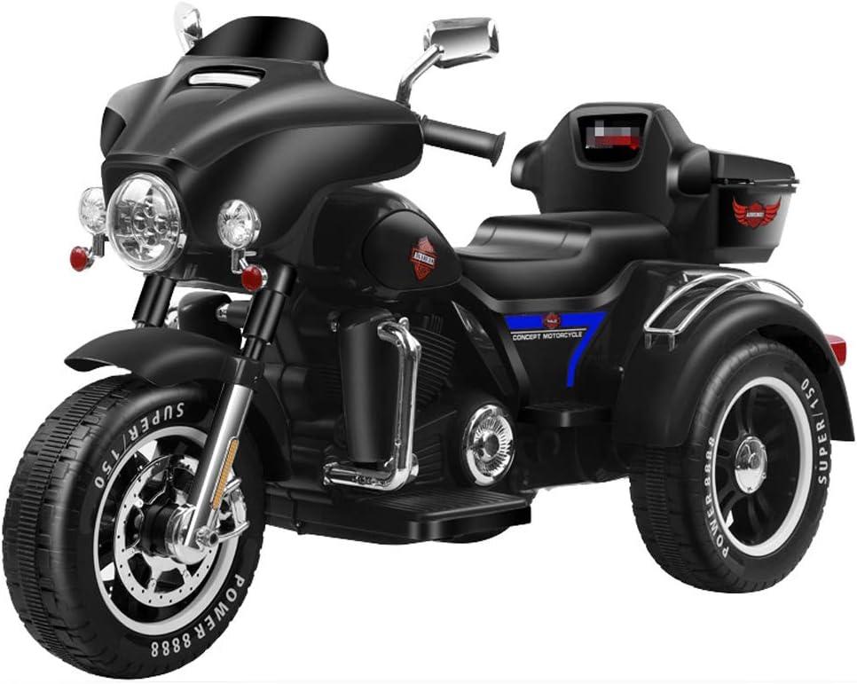 QqHAO Triciclo de Motocicleta eléctrica Harley para niños, batería de bebé para Hombre y Mujer, Carro de bebé de Doble accionamiento, Grande, Puede Sentarse Doble,Negro