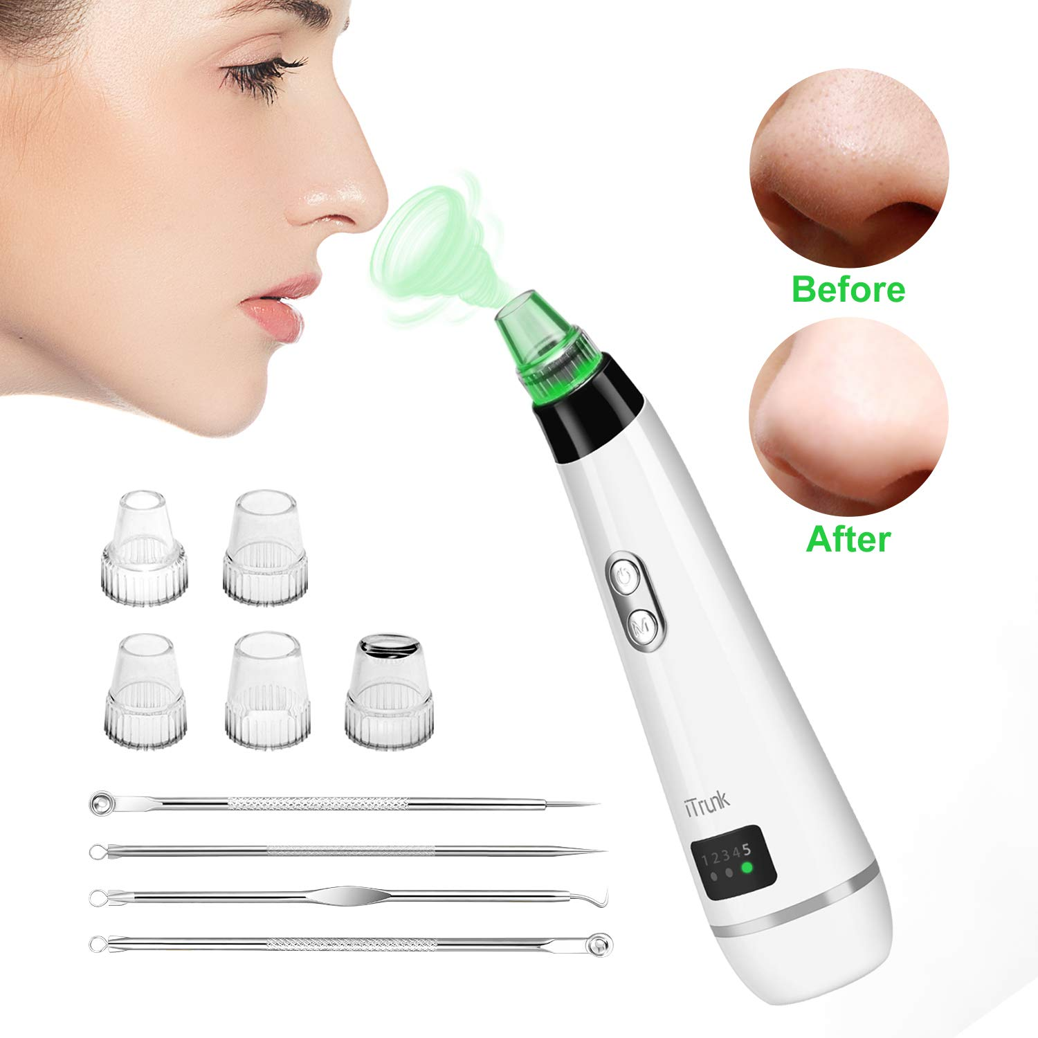 Blackhead Remover, iTrunk Electric Facial Pore Cleanser Comedo Extractor Tool with 4 Multi-Functional Probe, Rechargeable Blackhead Vacuum Suction Remover with LED Display for Facial Skin Clean(White) E427