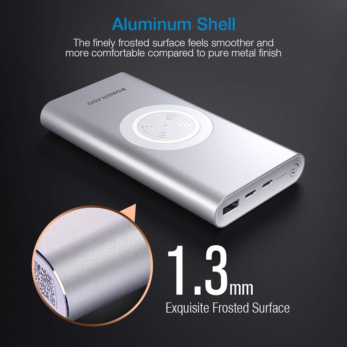 Poweradd Wireless Charger Power Bank, QiPower 10000mA iPhone Samsung wireless Portable Charger with Wireless Output and USB Output For iPhone 8 Plus, iPhone X, Samsung S7 S8 S9 S9 Plus-Silver
