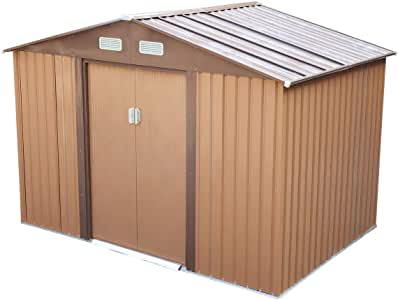 JAXPETY 6.3' x 9.1' Outdoor Storage Shed Garden Utility Tool Storage House Backyard Lawn Garage with Sliding Door, Brown