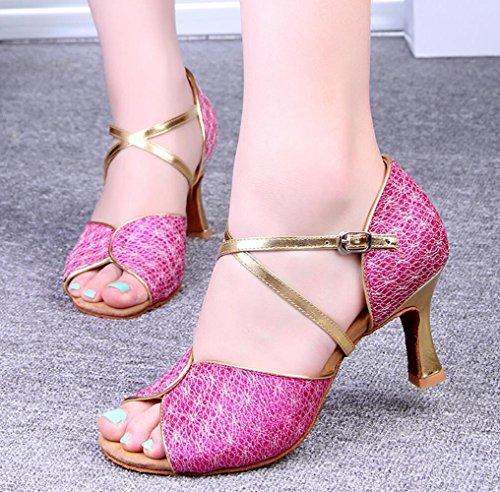 Zapatos De Baile Latino Con Adultos En Los Zapatos De Cuero Piezas de 7.5cm rojo