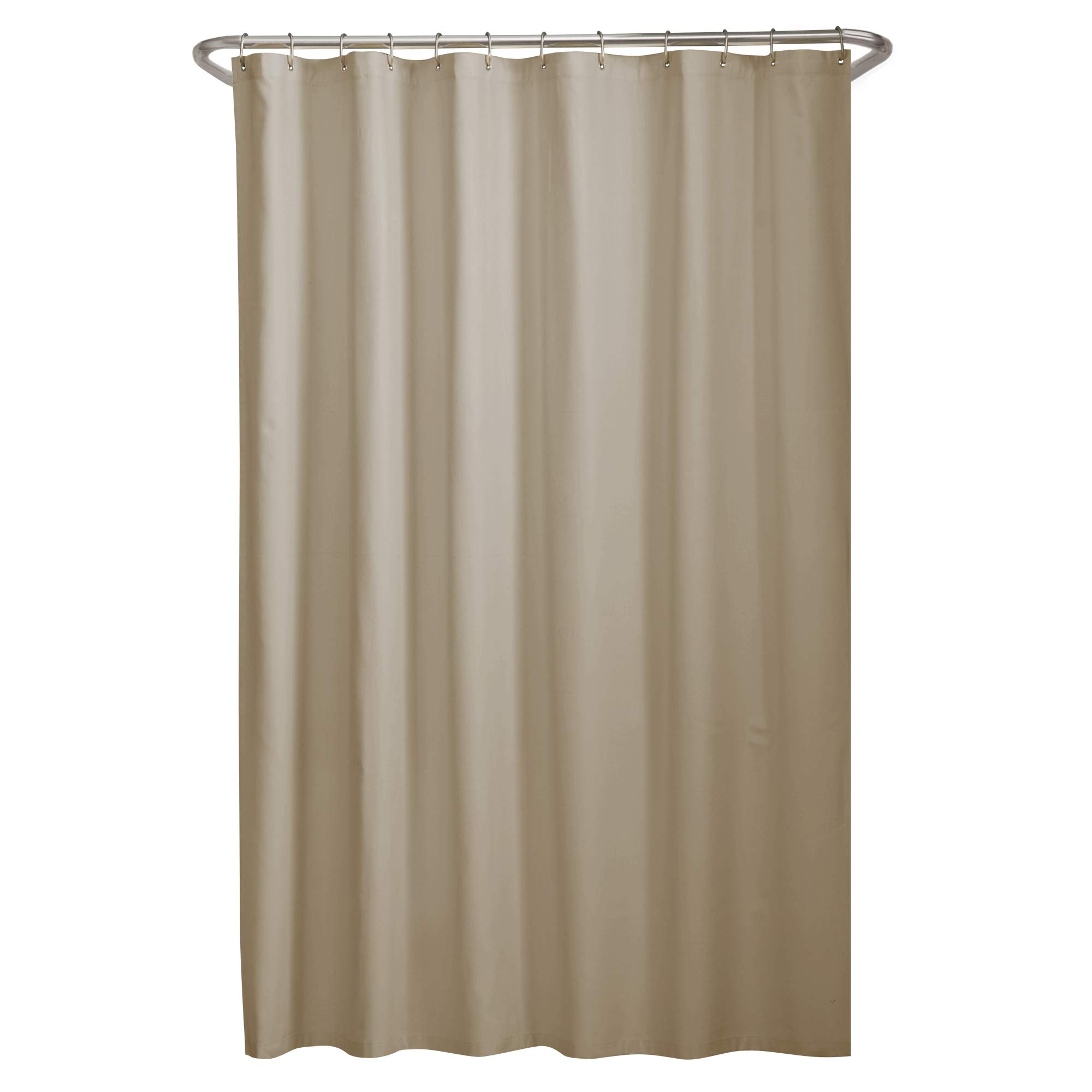MAYTEX Soft Microfiber Water Repellent Fabric Shower Liner or Curtain, Linen, Beige