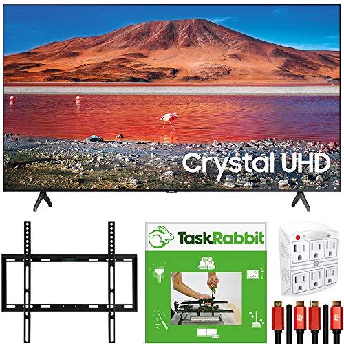 SAMSUNG UN50TU7000 50-inch 4K Ultra HD Smart LED TV (2020 Model) 360 Design Bundle with TaskRabbit Installation Services…