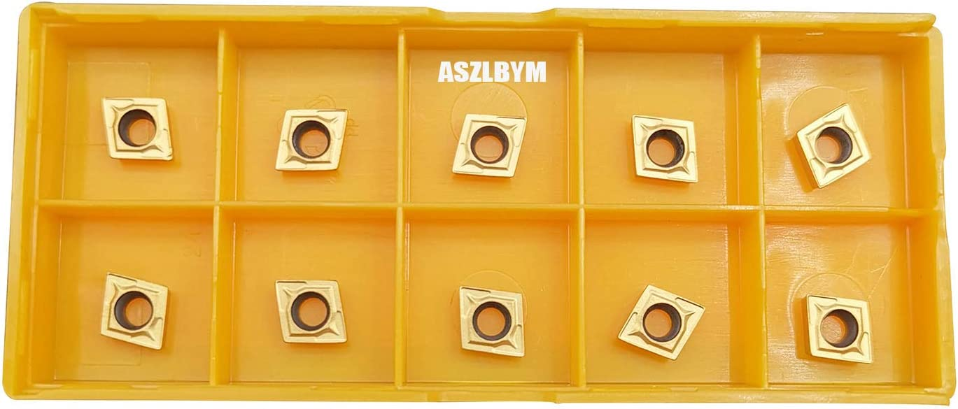 Multilayer Coated 5//32 Thick ASZLBYM CCMT32.52 // CCMT09T308 UE6020 CNC Lathe Indexable Carbide Turning Insert 1//32 Radius CCMT32.52 yellow