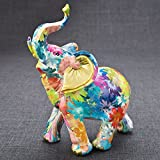 Medium Rainbow floral colored mini elephant from gifts by fashioncraft 16PK
