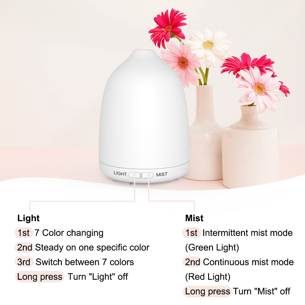 Soft Digits 120 ml Essential Oil Diffuser, Portable Ultrasonic Aromatherapy Diffuser Cool Mist Humidifier with Waterless Auto Shut-off, 7 Color LED, 2 PACK in ONE Box by Soft digits (Image #3)