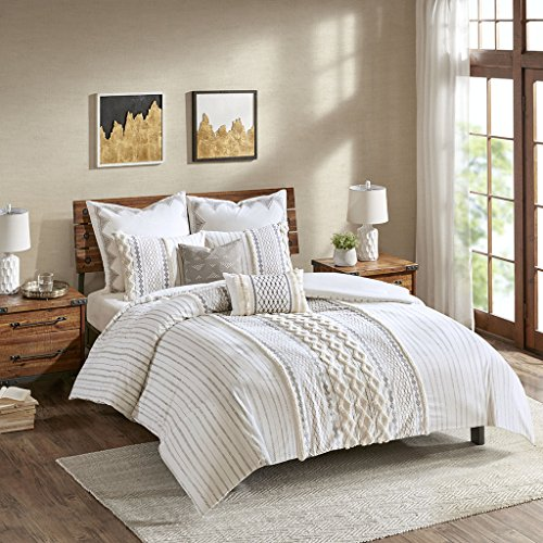 Comforter Chenille California King - Ink+Ivy II10-995 Imani Cotton Comforter Mini Set Ivory
