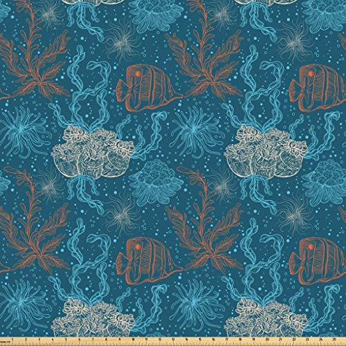 Lunarable Aquarium Fabric by The Yard, Hand Drawn Outline Seaweed Coral Reef and Tropical Fish Marine Flora Fauna, Microfiber Fabric for Arts and Crafts Textiles & Decor, 5 Yards, Orange Beige Aqua