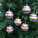 PEPPERLONELY 6PC/Pack Shatterproof Christmas Ball Ornaments 70mm (2-3/4 Inch) - Green/Purple