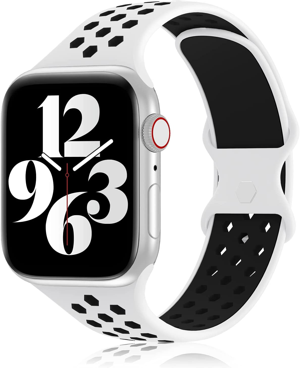 YAXIN Sports Band Compatible with Apple Watch Bands 38MM 40MM 42MM 44MM Women and Men,Breathable Soft Silicone Replacement Strap Double-color Air Holes Bands for iWatch Series 6 5 4 3 2 4 SE