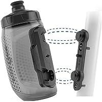 FIDLOCK Twist Bottle 450 Set- Bike Water Bottle Holder with Attached Bottle - Cage Free Magnetic Mount - Smoke