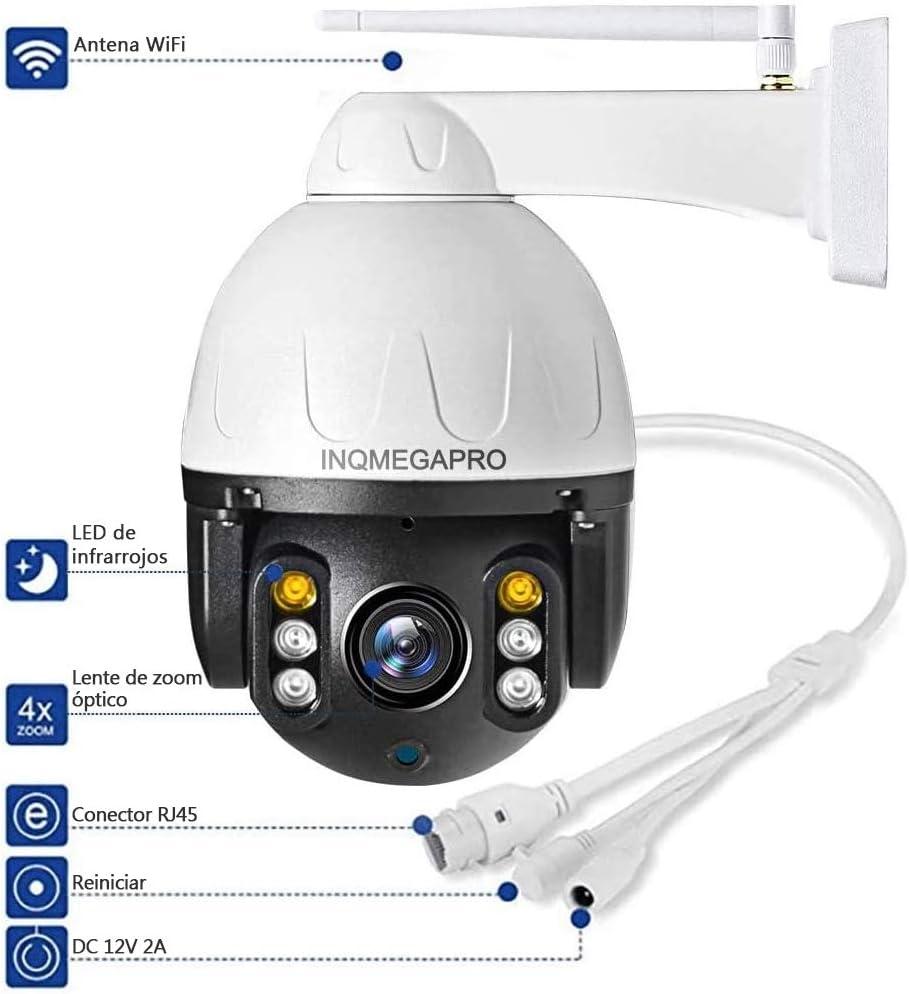 Negro C/ámara de Vigilancia Exterior INQMEGAPRO FHD 1080P Cubierta Met/álica PTZ C/ámara de Seguridad WiFi//LAN con Colorido Visi/ón Nocturna,Detecci/ón de Movimiento,Compatible con iOS//Android