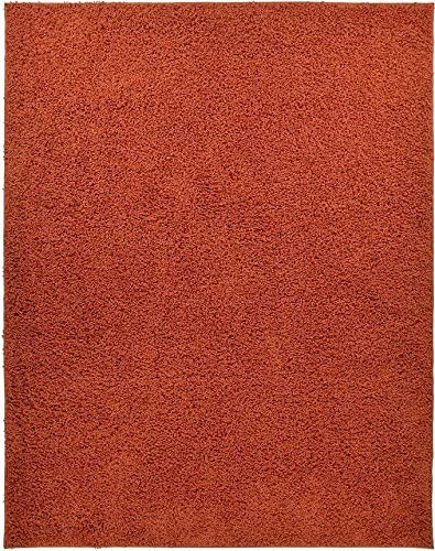 Shaggy Collection Solid Color Shag Area Rugs Burnt Orange, 3 3 x 4