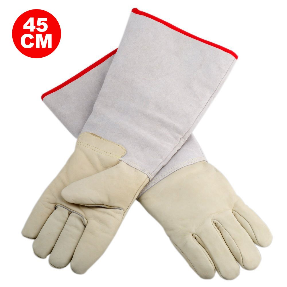 OFTEN Ultra Long Cryogenic Gloves Waterproof Protective Gloves Liquid Nitrogen Frozen Gloves Cold Storage,White,17.72''
