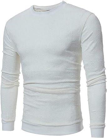 Camisa Manga Larga con Cuello para Redondo Hombre Moda Otoño Camisetas De Ocio Tops Slim Fit Camisa Básica Blusa Otoño: Amazon.es: Ropa y accesorios
