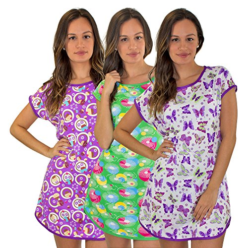 Real Essentials 3 Pack: Short Sleeve Nightshirt/Nightgown For Women Short Length,Purple Butterfly,Purple Cupcakes,Green Circle/Lines -Set 2 - (Butterfly Short Sleeve Shorts)