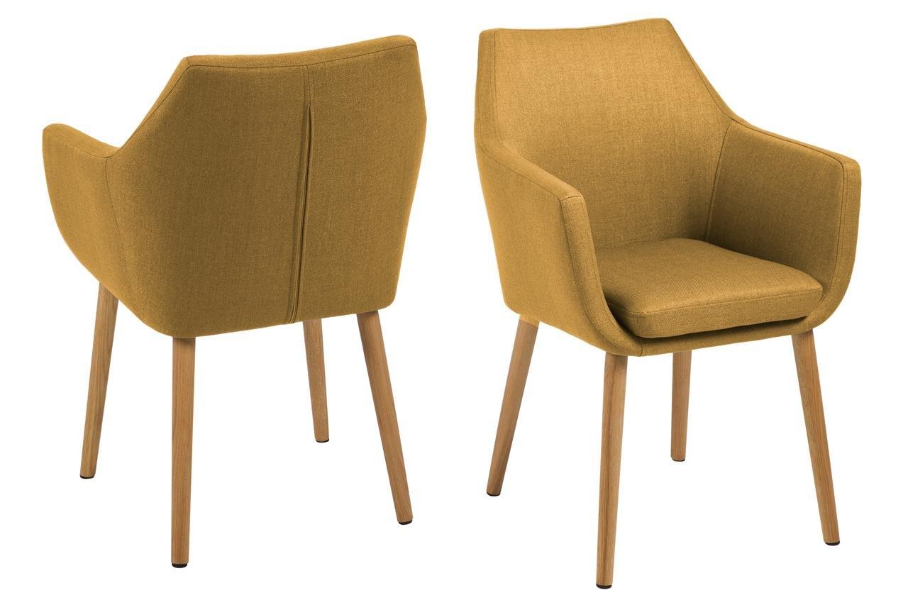 6 x Polsterstuhl mit Holzbeinen Eiche Ölbehandelt Esszimmerstuhl mit Armlehnen Sessel Designstuhl Skandinavisch Gelb