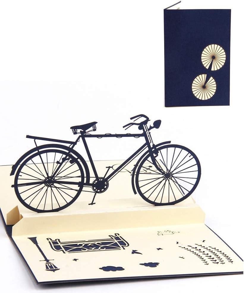 DEESOSPRO® [Tarjeta de Cumpleaños] [Tarjeta de Aniversario] [Tarjeta de Graduación] con Patrón Emergente 3D Creativo, Regalo para Cumpleaños, Graduación, Navidad, Día del Padre (Bicicleta)