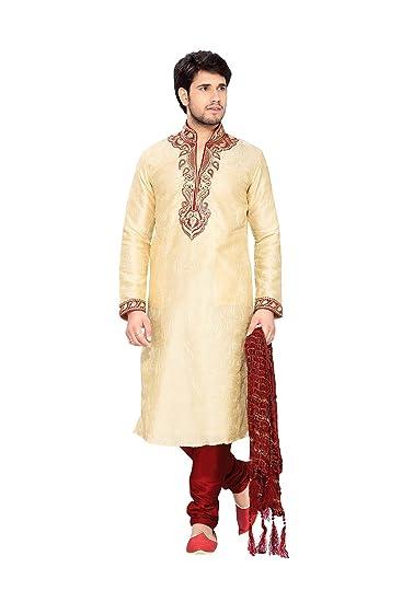 7d7668ee0f Amazon.com: Kurta Pajama For Men Wedding Outfit Partywear Dress Traditonal  Royal Outwear In Cream Art Silk: Clothing