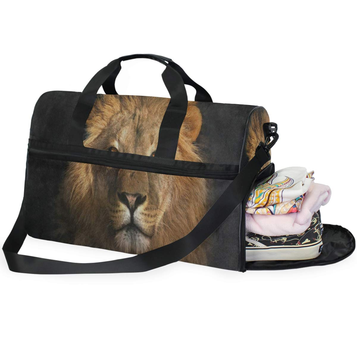 Travel Tote Luggage Weekender Duffle Bag Brown King Lion Animal Large Canvas shoulder bag with Shoe Compartment