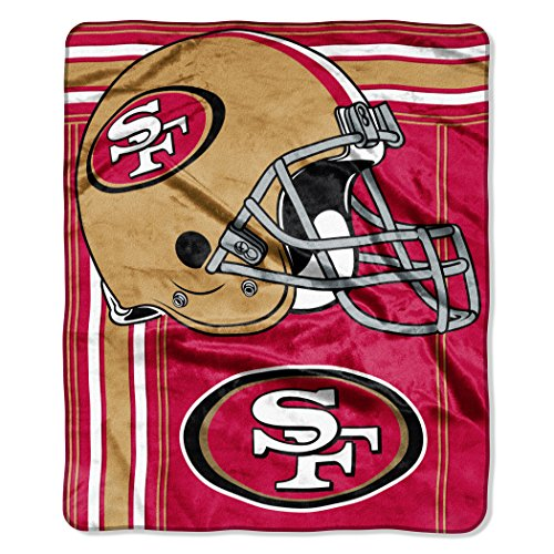 y NFL San Francisco 49ers Touchback Plush Raschel Throw, 50