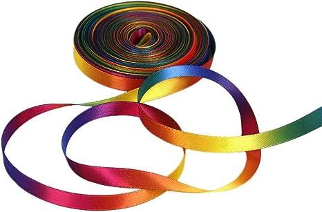 9mm Wide ADYTUI 50 Yards Satin Ribbon Gradient Rainbow Printed Double Side Satin Polyester Ribbon for DIY Handmade