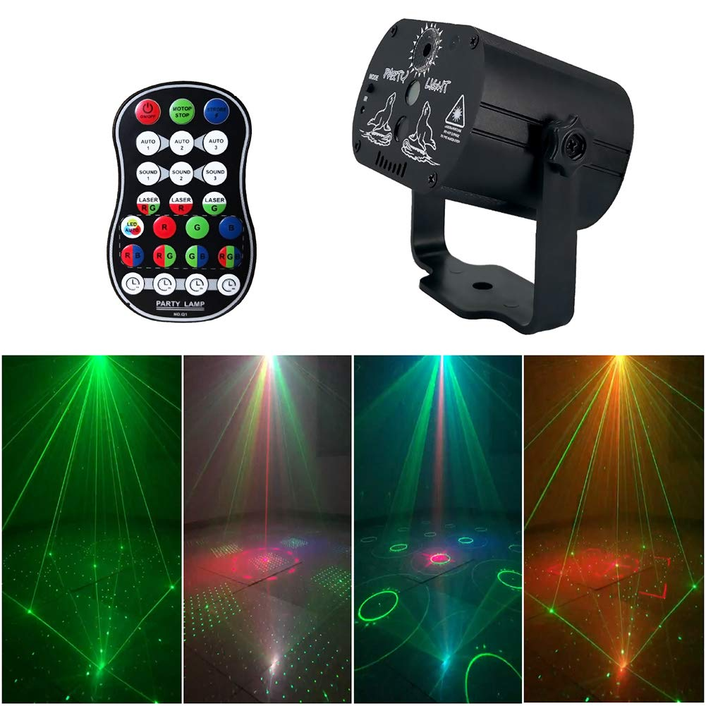 Globents 60 in1 Patterns Stage Lights Party Lights DJ Disco USB Led Projector Karaoke Strobe Perform for Stage Lighting with Remote Control for Dancing Thanksgiving KTV Bar Birthday Outdoor