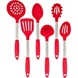 Red Cooking Utensils Set - Stainless Steel & Silicone Heat Resistant Professional Cooking Tools - Spatula, Mixing & Slotted S
