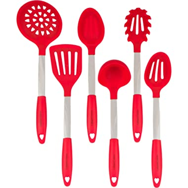 Red Cooking Utensils Set - Stainless Steel & Silicone Heat Resistant Professional Cooking Tools - Spatula, Mixing & Slotted Spoon, Ladle, Pasta Fork Server, Drainer - Bonus Ebook!