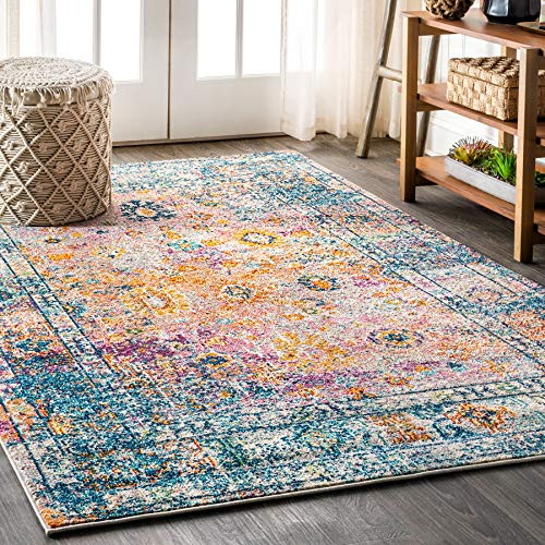 JONATHAN Y BMF103 Bohemian Flair Boho Vintage Faded Cream/Navy 8 ft. x 10 ft. Area Rug