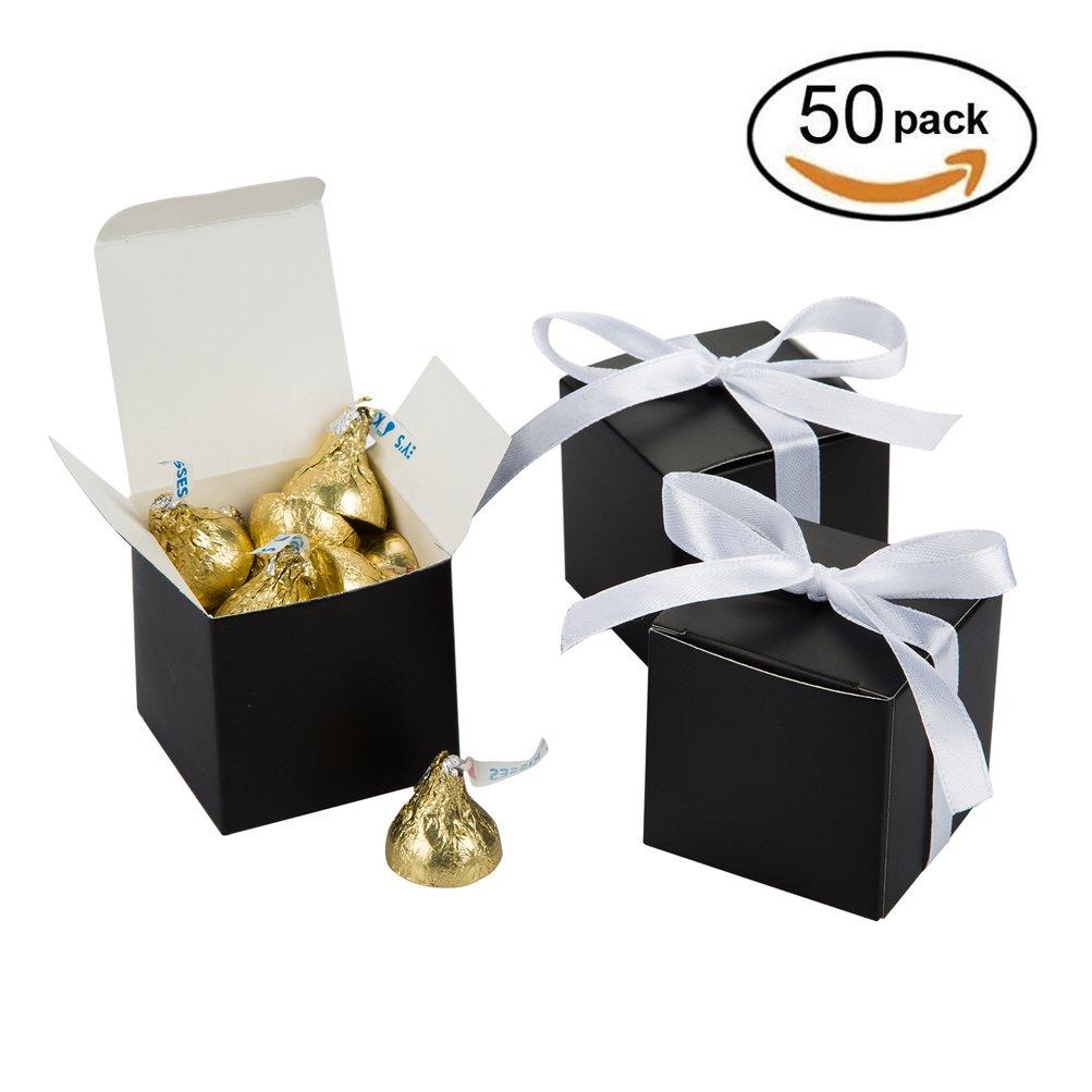 Amazon.com: Black Gift Candy Box Bulk 2x2x2 inches with White Ribbon ...