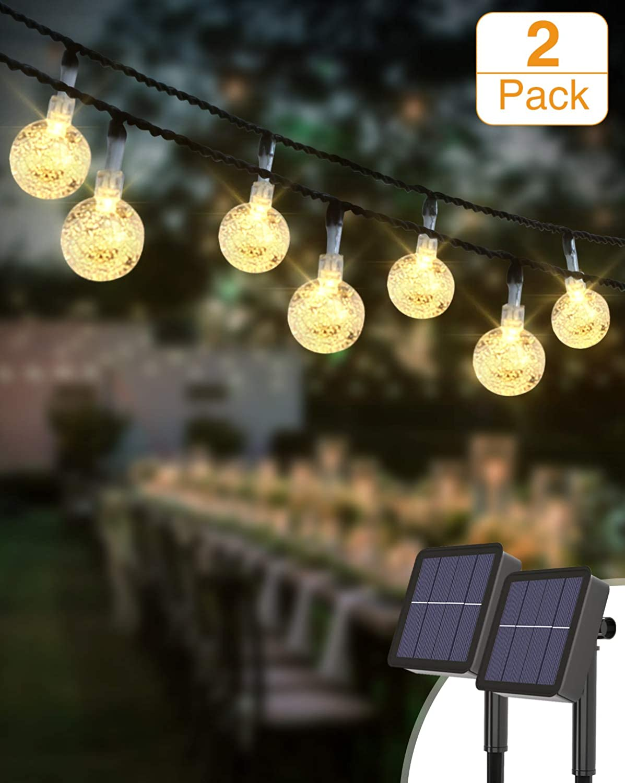 Guirnaldas Luces Exterior Solar [2 Pack], Kolpop 3M 30LED Cadena de Bola Cristal Luz, Guirnalda Solar LED Bola de Cristal Luces Decoracion para Navidad Terraza Hogar Jardín Arboles Patio Bodas