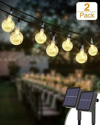 Guirnaldas Luces Exterior Solar [2 Pack], Kolpop 3M 30LED Cadena de Bola Cristal Luz, Guirnalda Solar LED Bola de Cristal Luces Decoracion para Navidad Terraza Hogar Jardín Arboles Patio Bodas: Amazon.es: Iluminación
