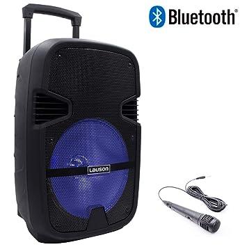 Lauson Altavoz portátil Bluetooth con Luces, Función Karaoke, MP3 Desde USB/Tarjeta SD, Micrófono Incluido, Color Negro: Amazon.es: Informática
