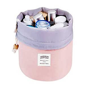 Mermaid Travel Make up Bag Pouches Cosmetic Bags Women Girls Barrel Shaped Hanging Toiletry Wash Bags Nylon Drawstring Makeup Organizer Storage Bag + Small Zipper Pocket+PVC transparent brush bag (Pink)