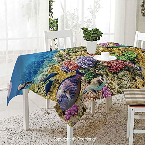 BeeMeng Large dustproof Waterproof Tablecloth,Family Table Decoration,Ocean,Undersea Scenery Colorful Sponge Coral Reefs Tropical Fishes and Jellyfish Image,Multicolor,70 x 104 inches