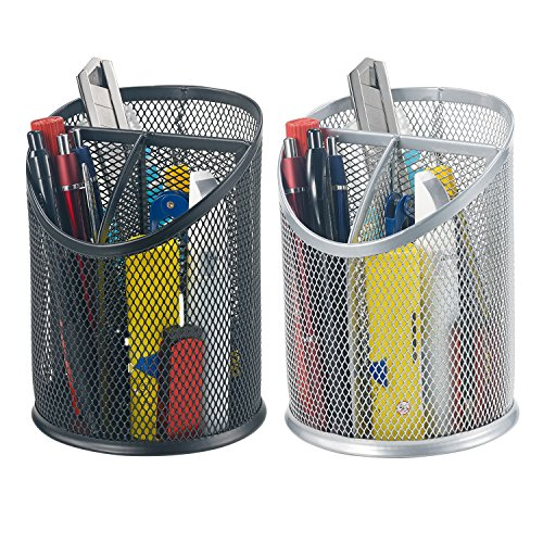 Bonsaii 2-Pack Round Steel Mesh Pen Pencil Desk Holder Organizer 3 Compartments,Black and Sliver(W6807)