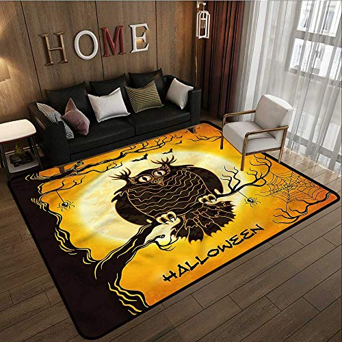 Custom Rug Halloween Owl on Tree Spider Web Extra Large Rug 4'7