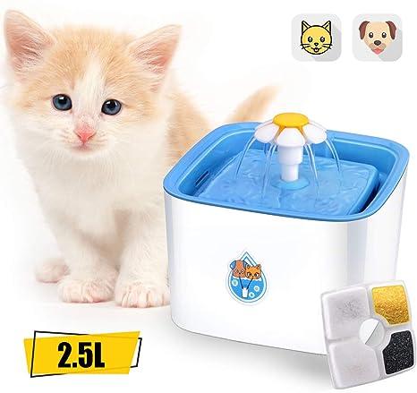 ADOV Fuente Gatos, 2.5L Dispensador Automático de Agua Eléctrico con 3 Etapas Filtración, Flor Portátil Estilo Bebedero para Gatos, Perros y Pequeños ...