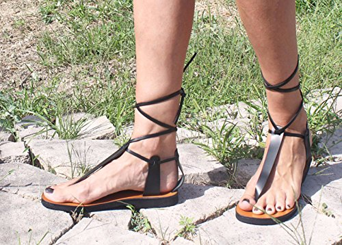 d1a6dbe89876 Lace Up Thong Leather Sandals Unisex New Style Double Color Greek Lace Up Gladiator  Sandals - MALIBU  Amazon.co.uk  Handmade