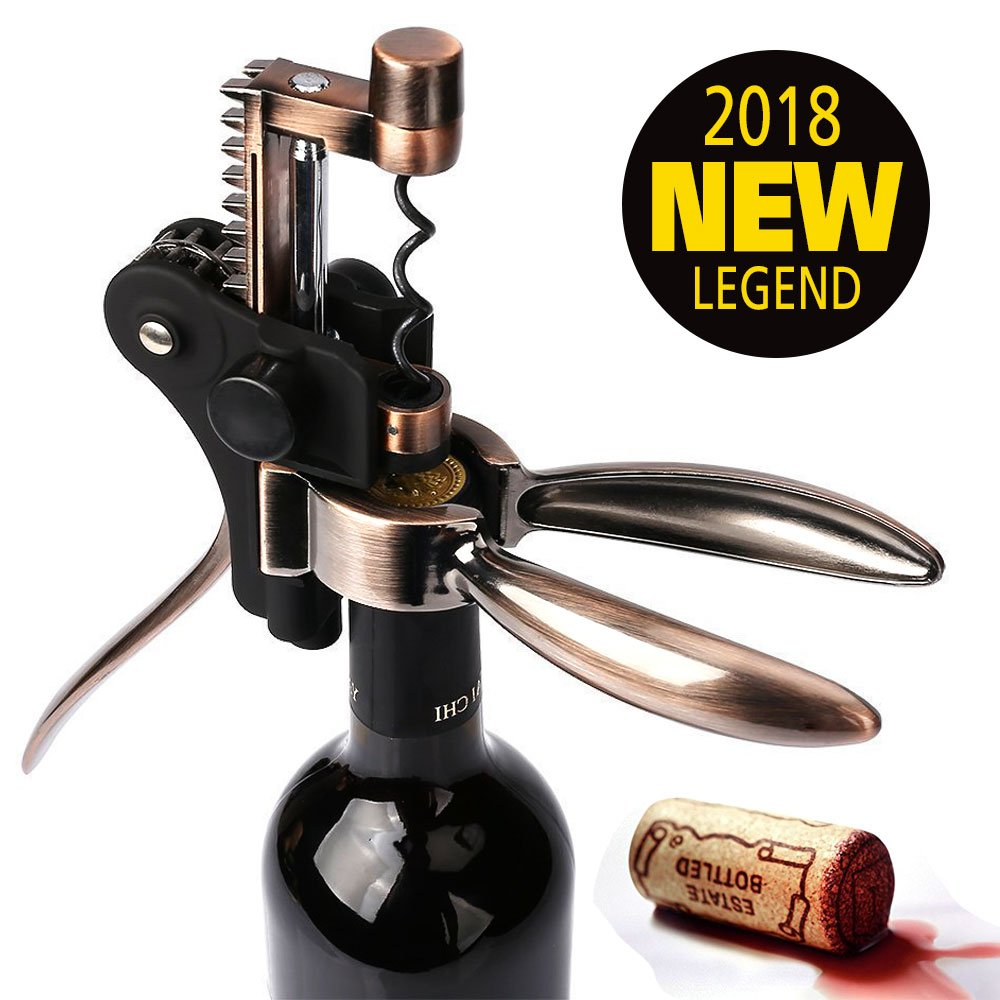 Deluxe 5 Piece Gift Set With Box . Andul Wine Opener Corkscrew with Foil Cutter stand and Extra Spiral//Worm Bottle Plug