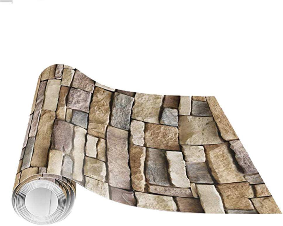 Fondo de pantalla de ladrillo grano PVC c/áscara y palillo fondo de pantalla 17.7in x 118in Ladrillo Piedra auto adhesivo del papel pintado pared de la pel/ícula extra/íble revestimiento Decoraci/ón