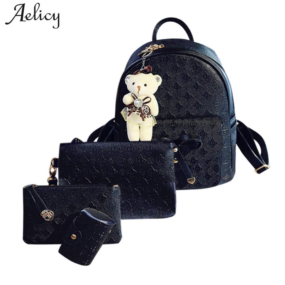 Amazon.com | 4Pcs/Set Small Women Backpacks Female School Bags For Teenage Girls Black PU Leather Backpack Shoulder Bag Purse | Backpacks
