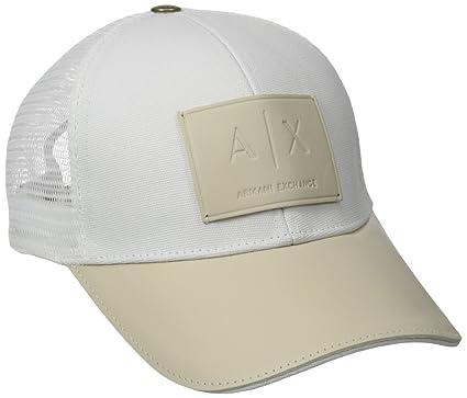 6cf606af Amazon.com: Armani Exchange Men's Logo Patch Mesh Hat, White, One ...