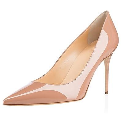 d9607d5526810c elashe Escarpins Femme - 8 cm Kitten-Heel Chaussures - Bout Pointu Fermé -  Classique