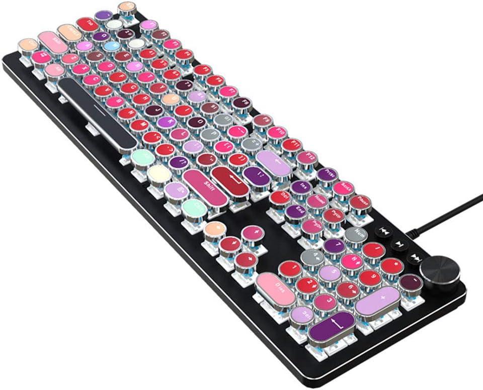 WANGJIANGLI USB LED Backlit Retro Typewriter Mechanical Keyboard ...