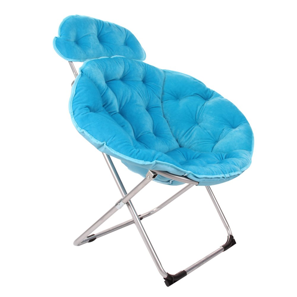 Folding chair / moon chair / lazy chair / lunch break deck chair / backrest / sun chair / round folding chair / casual home computer chair /Three colors available ( Color : Blue )